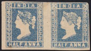 India 1854 ½a blue, pair